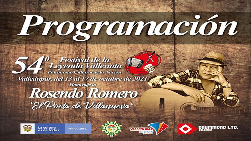 Lista la programación del 54° Festival de la Leyenda Vallenata 2021
