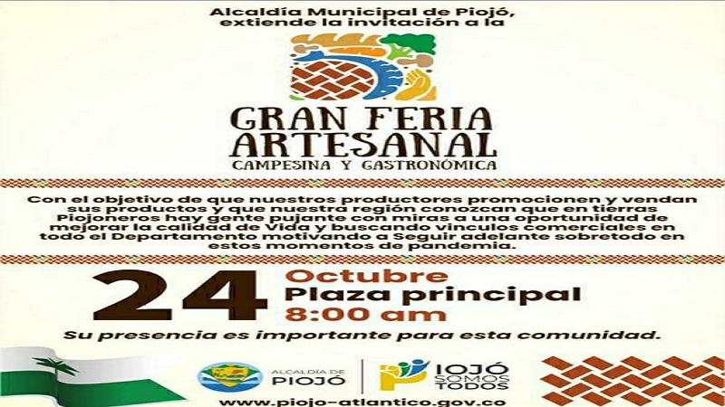 En Piojó Feria Artesanal, Campesina y Gastronómica este domingo 24 de Octubre